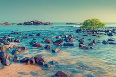 Blue sea water and scattered stones. Tinted Stock Images