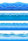Blue sea water waves, seamless background set for game design. Vector illustration, isolated on white. Blue sea water waves, seamless background set for game stock illustration