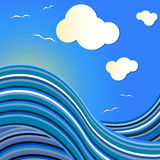 Blue sea wave drawing Royalty Free Stock Photos