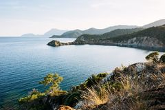 Blue sea wave of mediterranean sea on turkish coast in the evening Royalty Free Stock Photos