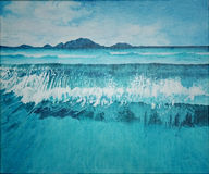 Blue Sea wave painting Stock Image