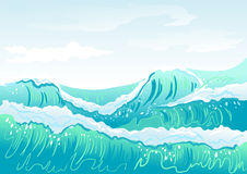 Blue sea wave and sky Stock Image