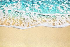 Free Blue Sea Wave, White Foam, Golden Sand Beach, Turquoise Ocean Water Close Up, Summer Holidays Border Frame Concept, Copy Space Royalty Free Stock Image - 163380116