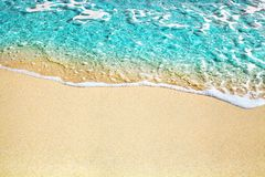 Free Blue Sea Wave, White Foam, Golden Sand Beach, Turquoise Ocean Water Close Up, Summer Holidays Border Frame Concept, Copy Space Stock Image - 163380141
