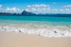 Blue sea wave on white sand beach Royalty Free Stock Photos