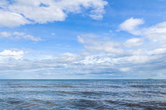 Blue sea with waves and clear blue sky with cloud& x28;ocean,wave,sea Royalty Free Stock Photography