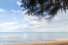Blue sea with waves and clear blue sky with cloud& x28;ocean,wave,sea Royalty Free Stock Photo