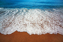 Blue sea with waves and coast Royalty Free Stock Photography