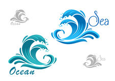 Blue sea waves icon with water splash Stock Photos