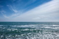 Sea with waves and sky with clouds Royalty Free Stock Images