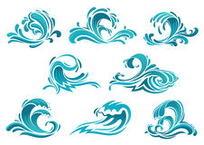 Blue sea waves and surf icons Royalty Free Stock Images