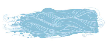 Blue sea waves. Vector illustration. Hand drawn lement for your design Royalty Free Stock Image