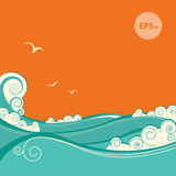 Blue sea waves. Vector illustration of seascape Royalty Free Stock Photos