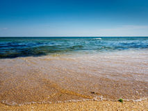 Blue sea waves on yellow sand Stock Image