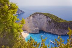 Blue sea and white cliff from above stock image