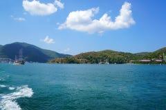 Blue sea yachts, bays of Fethiye, Mugla, Turkey stock images
