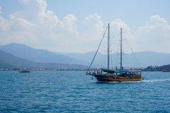 Blue sea yachts, bays of Fethiye, Mugla, Turkey royalty free stock photo