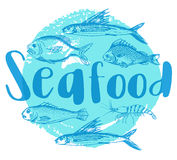 Blue seafood background Royalty Free Stock Photo