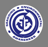 Blue Seagoing Environmental Sign stock images