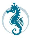 Blue seahorse. Symbol with circle shape. Vector illustration Stock Image