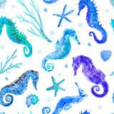 Blue seahorse, shell, starfish, coral and bubbles seamless pattern. Underwater world image on a white background.watercolor hand drawn illustration Royalty Free Stock Image