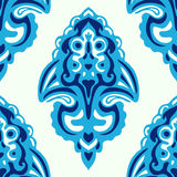 Blue Seamless abstract tiled damask pattern Stock Images