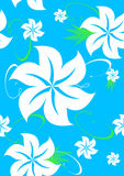 Blue seamless aloha Hawaiian pattern. White seamless Hawaiian pattern on a turquoise blue background; suitable for wallpaper, fabric, tiles and more (other aloha Royalty Free Stock Images