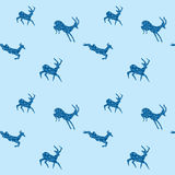 Blue seamless vector background with blue goats Royalty Free Stock Image