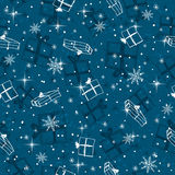 Blue seamless background with christmas gifts ,  vector Royalty Free Stock Photo