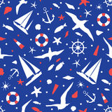 Blue seamless background with the image of yachts, marine animals, birds and marine attributes. Stock Photography