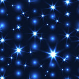 Blue seamless background with shiny Christmas chain Stock Photography
