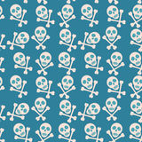 Blue seamless background. Skull and bones. Pirates.  Stock Photography