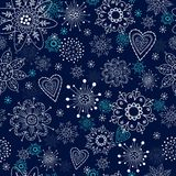 Blue seamless background with snowflakes Stock Image