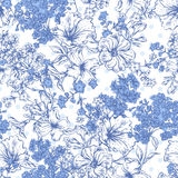 Blue Seamless Background with Spring and Summer. Flowers, Vector illustration on Polka Dot Background vector illustration
