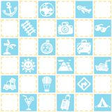 Blue seamless background of travel/vacation pattern theme. stock illustration