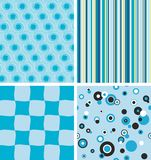 Blue seamless backgrounds. Four seamless backgrounds in blue color Royalty Free Stock Photos