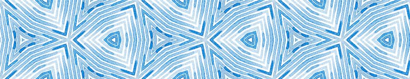 Blue Seamless Border Scroll. Geometric Watercolor stock illustration