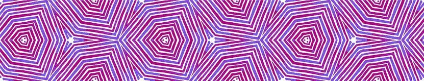 Blue Seamless Border Scroll. Geometric Watercolor royalty free illustration