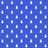 Blue seamless christmas background. Traditional seamless christmas background blue with white fir trees Stock Photo