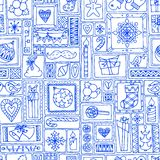 Blue seamless Christmas and New Year pattern Stock Photo