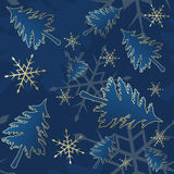 Blue seamless Christmas pattern Royalty Free Stock Photo