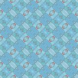 Blue seamless decorative mosaic pattern in retro style stock images