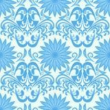 Blue Seamless Floral Damask Wallpaper