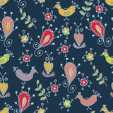 Blue seamless floral pattern Royalty Free Stock Photography