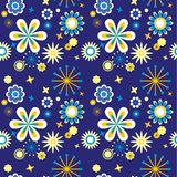 Blue seamless floral pattern Royalty Free Stock Photo