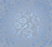 Blue seamless floral pattern background Stock Images