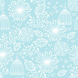 Blue seamless floral pattern Stock Photo
