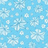 Blue Seamless Floral Pattern Stock Images