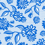 Blue seamless floral vintage lace background Royalty Free Stock Photos