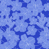 Blue seamless flower pattern. Vector seamless texture Stock Photos